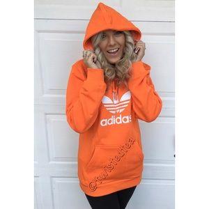 🧡New adidas originals orange hoodie sweatshirt M